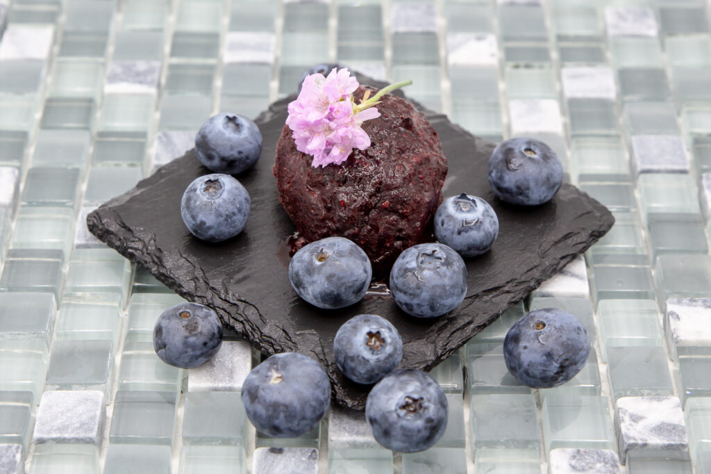 Blueberry sorbet, served with blueberries
