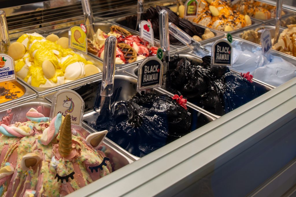 Black ice cream is very trendy - we were not convinced by its taste