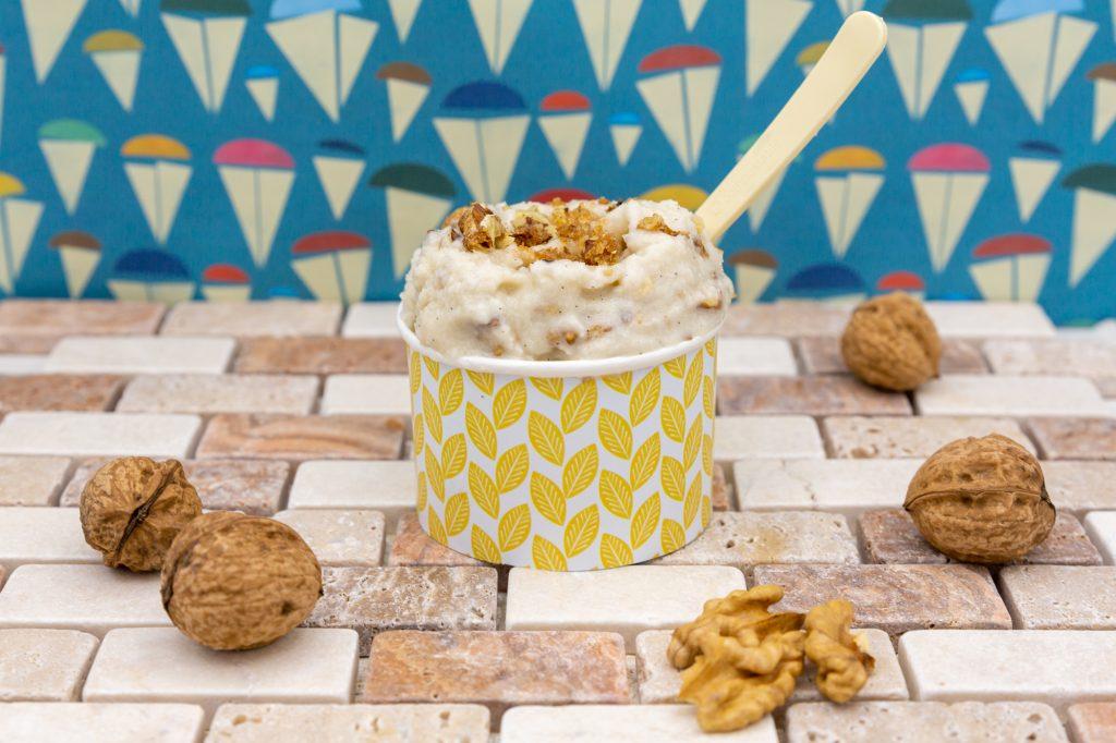 Vegan walnut ice cream with caramelized walnuts
