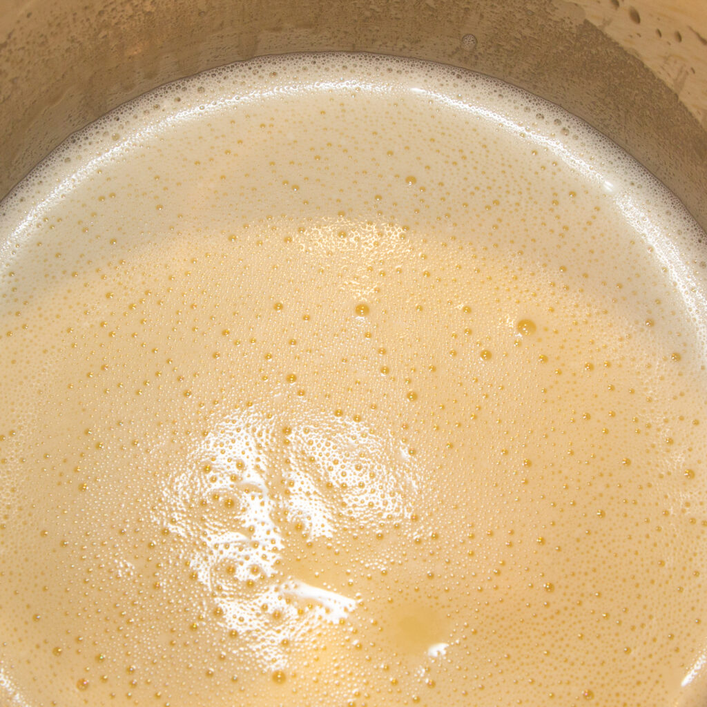 Allow milk ice cream mixture to cool after heating.